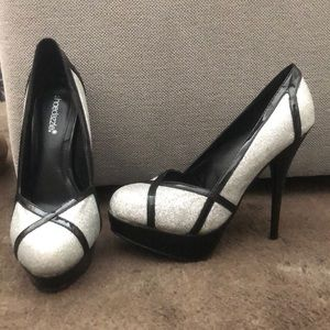 Black with Silver Glitter Heels size 9.5